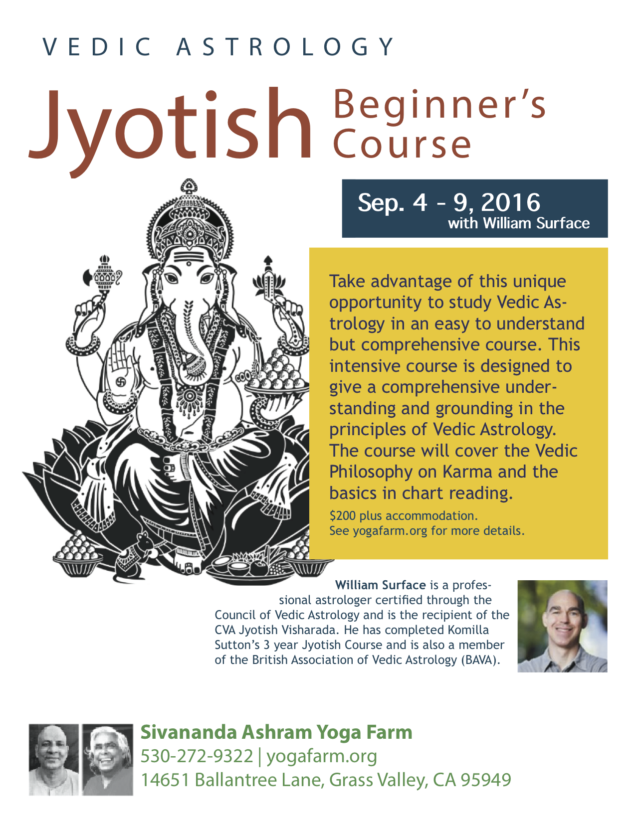 Jyotish Beginner course william surface
